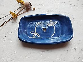Nádoby - Keramická mydelnička modrotlačová - 11288850_