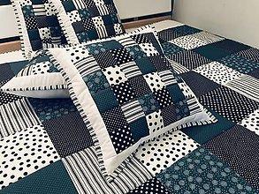 Úžitkový textil - moderná tmavá - tyrkysova s čiernou - 11289113_