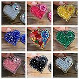 Náušnice - Srdce na dlani...vyšívané (Sapphire) - 11286424_
