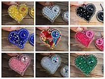 Náušnice - Srdce na dlani...vyšívané (Sapphire) - 11286425_