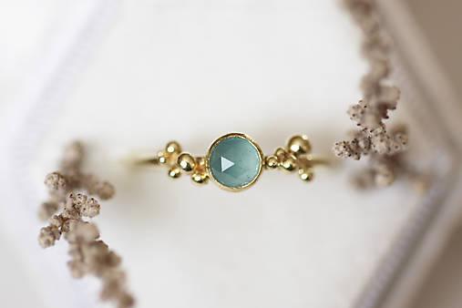 Zlatý prsteň s akvamarínom - Bokeh Gold Aqua