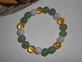 Náramky - citrín,avanturín,krištáľ-náramok - 11288292_