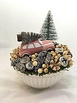Dekorácie - Vianočné autíčko - ružové - 11286781_