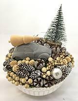 Dekorácie - Vianočné autíčko - betónové - 11286786_