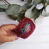 Náramky - Red Velvet Dragonfly  - vyšívaný náramek - 11287739_
