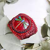 Náramky - Red Velvet Dragonfly  - vyšívaný náramek - 11287740_