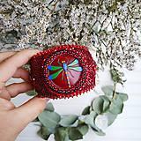 Náramky - Red Velvet Dragonfly  - vyšívaný náramek - 11287741_