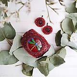 Náramky - Red Velvet Dragonfly  - vyšívaný náramek - 11287743_