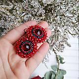 Náušnice - Red Velvet - vyšívané náušnice - 11287749_