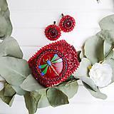 Náušnice - Red Velvet - vyšívané náušnice - 11287751_
