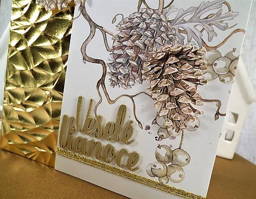 Veselé Vianoce šišky pohľadnica