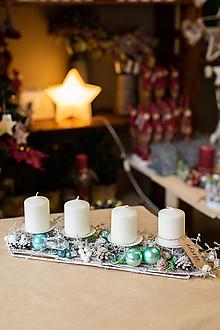 Dekorácie - Vianoce - adventný svietnik - tyrkysový - 11288281_