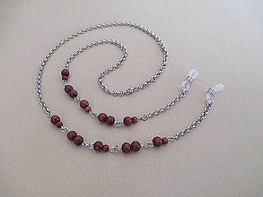 Iné šperky - Retiazka na okuliare s drevenými mahagónovými korálkami - chirurgická oceľ - 11289057_