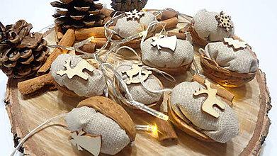Dekorácie - Vianočné oriešky ľanové prírodné -natur - 11286288_