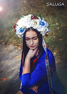 Ozdoby do vlasov - Kvetinová parta - čelenka - folklórna - biela - modrá - 11289327_