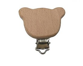 Galantéria - KL117 Klip drevený na retiazku na dudlík (Macko) - 11287849_
