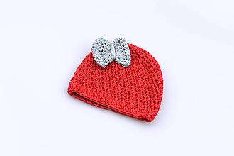 Detské čiapky - Červeno-šedá čiapka s mašličkou EXTRA FINE - 11287131_