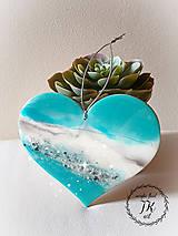 Dekorácie - Tyrkysové srdce - 11288765_