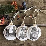- Vintage vianočné ozdoby - zvieratká - sada 3 ks - 11286185_