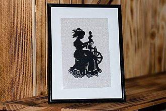 Obrázky - Čierna dáma-vyšívaný obrázok - 11286481_