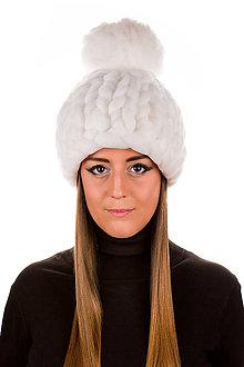 Čiapky - Oversized čiapka z vegan vlny (Biela) - 11286213_