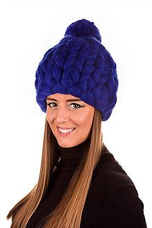 Čiapky - Oversized čiapka z vegan vlny (Modrá) - 11286235_