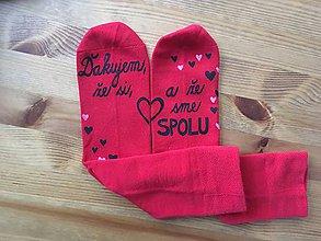 """Oblečenie - Maľované červené ponožky s nápisom: """"Ďakujem, že si, a že sme spolu!"""" - 11287827_"""