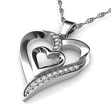 Náhrdelníky - Srdcový Náhrdelník 925 Strieborný prívesok v tvare dvojitého srdca značky DEPHINI® - 11285638_