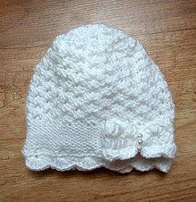 Detské čiapky - Biela ciapka s maslou na krst SKLADOM - 11289450_