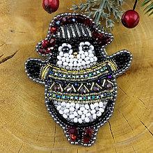 Odznaky/Brošne - Tučňák vánoční ... brož - 11290990_
