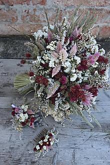 Kytice pre nevestu - Svadobný set pre nevestu zo sušených kvetov - 11292797_