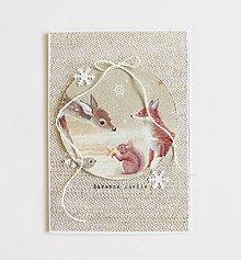 Papiernictvo - Vianočná pohľadnica, lesné zvieratká - 11291167_