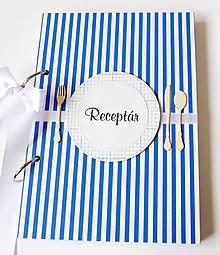Papiernictvo - Receptár modrý pásikavý - 11290682_