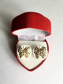 Náušnice - zlaté motýliky/keramika/ - 11293026_