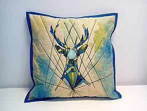 Úžitkový textil - Vankúš - s jeleňom (mozaika) - 11293241_