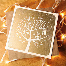 Papiernictvo - Vianočná pohľadnica * Darček na strome (Biely podklad) - 11291065_