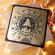 Grafika - Vianočná pohľadnica * Strom vo vločke (Čierny podklad) - 11291072_