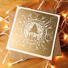 Grafika - Vianočná pohľadnica * Strom vo vločke (Biely podklad) - 11291075_