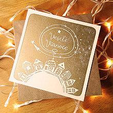 Grafika - Vianočná pohľadnica * Domčeky s hviezdou (Biely podklad) - 11291086_