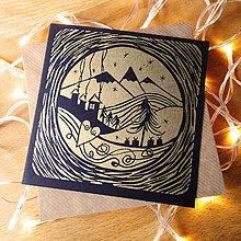 Grafika - Vianočná pohľadnica * Hory (Čierny podklad) - 11291110_