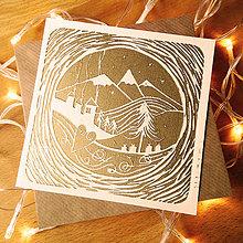 Grafika - Vianočná pohľadnica * Hory (Biely podklad) - 11291111_
