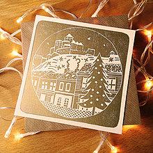Grafika - Vianočná pohľadnica * Trenčín (Biely podklad) - 11291119_