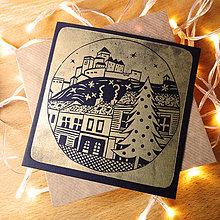 Grafika - Vianočná pohľadnica * Trenčín (Čierny podklad) - 11291121_