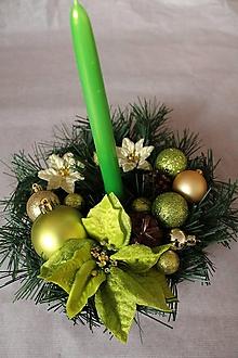 """Svietidlá a sviečky - Vianočný svietnik """"zelený"""" - 11292095_"""