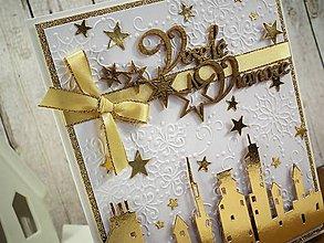 Papiernictvo - Veselé Vianoce mesto pohľadnica - 11290738_