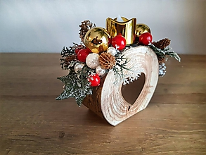 Dekorácie - vianočný svietniček červený so zlatými guľami - 11292752_