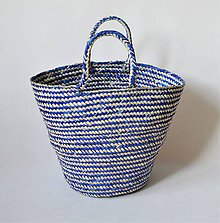 Košíky - Pletený palmový kôš (Blue) - 11292015_