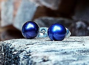 Náušnice - Sladkovodné čierno-fialové perly puzetové napichovačky (CHO) - 11290621_