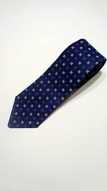 Doplnky - Pánska slim kravata modrá folk - 11292327_