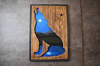 Obrazy - Drevený obraz prírody a vlka - 11293153_
